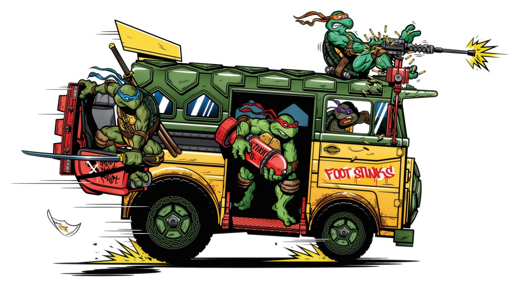 The Party Wagon by Justin Gammon - TMNT print at Bottleneck Gallery