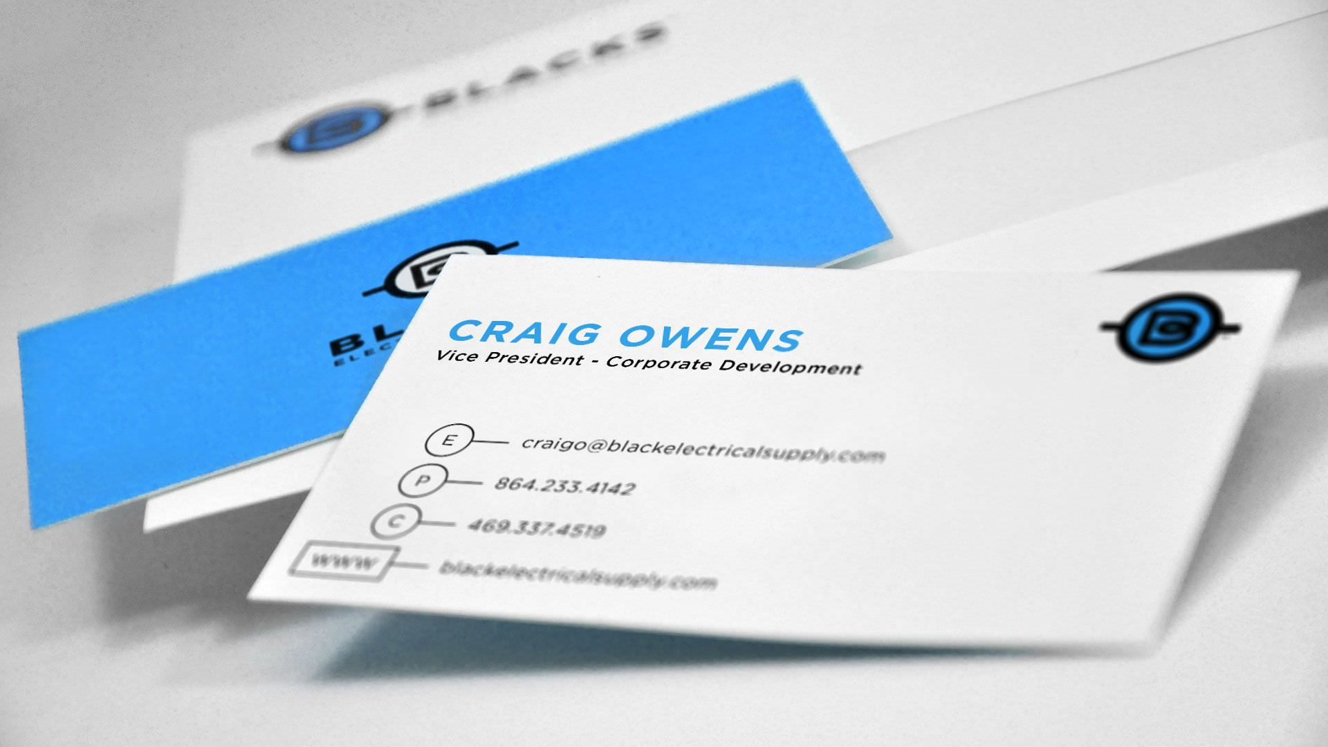 Branding Greenville-based Blacks Electrical Supply - - Branding Greenville Business Cards