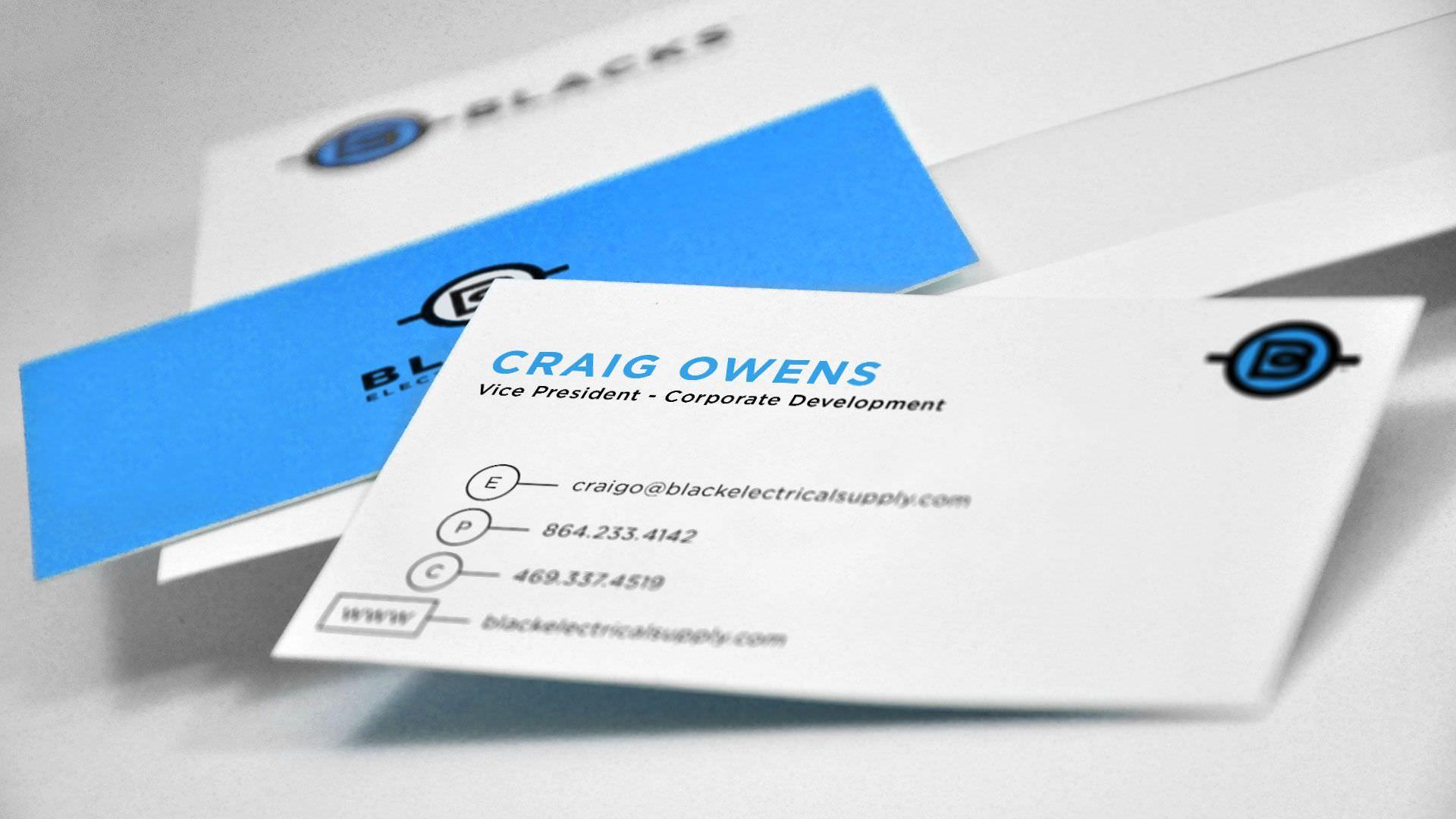 Branding Greenville-based Blacks Electrical Supply - - Branding Greenville Business Cards