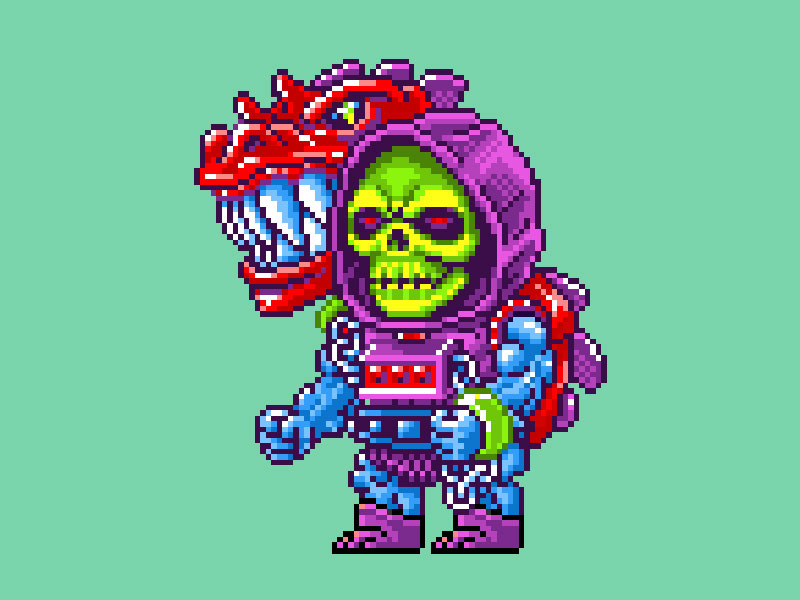 MOTU Pixel Art - Dragon Blaster Skeletor