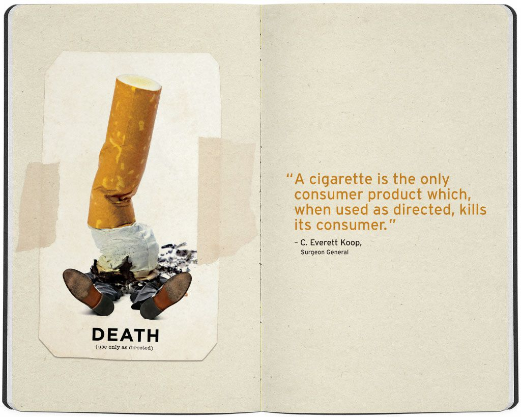 """Giant Cigarette Butt Crushes a Man - """"Death: Use only as directed"""""""