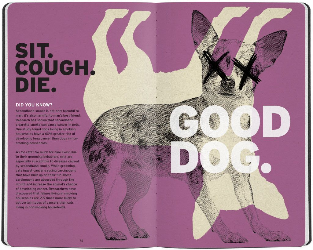 """""""Sit. Cough. Die. Good Dog."""" Dead Dog Illustration - Second hand smoke kills out pets."""