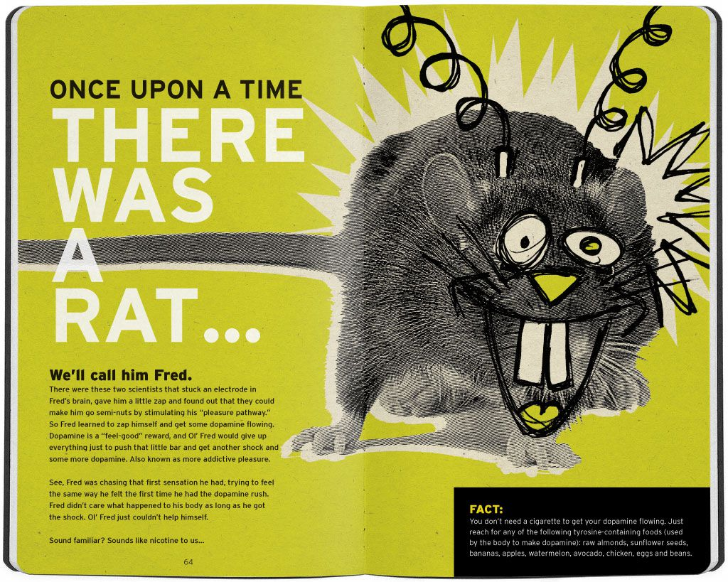 """""""Once upon a time, there was a rat named Fred."""" Crazy Rat hooked up to electrodes illustration"""