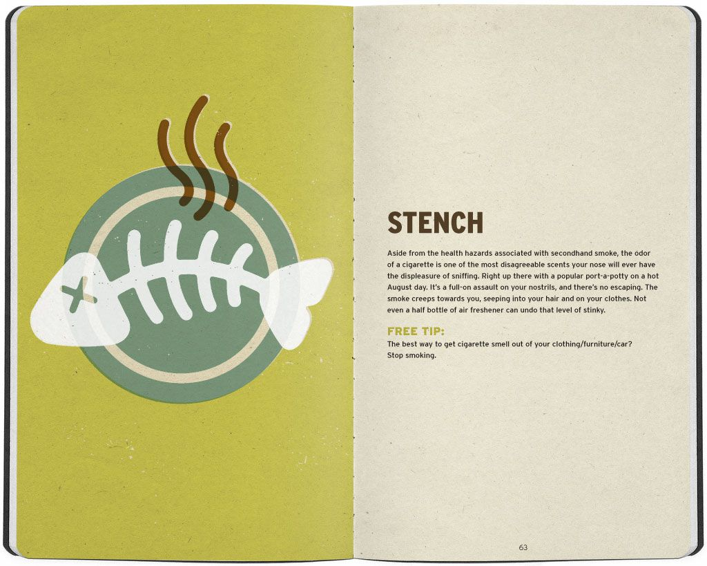 Illustration of stinky fish bones on a plate