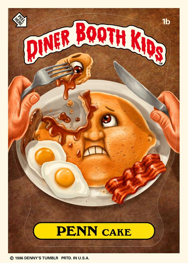 Diner Booth Kids - Penn Cake- Garbage Pail Kids Parody