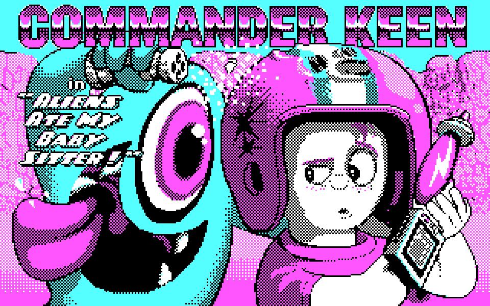 Commander Keen Title Screen - CGA Palette Pixel Art